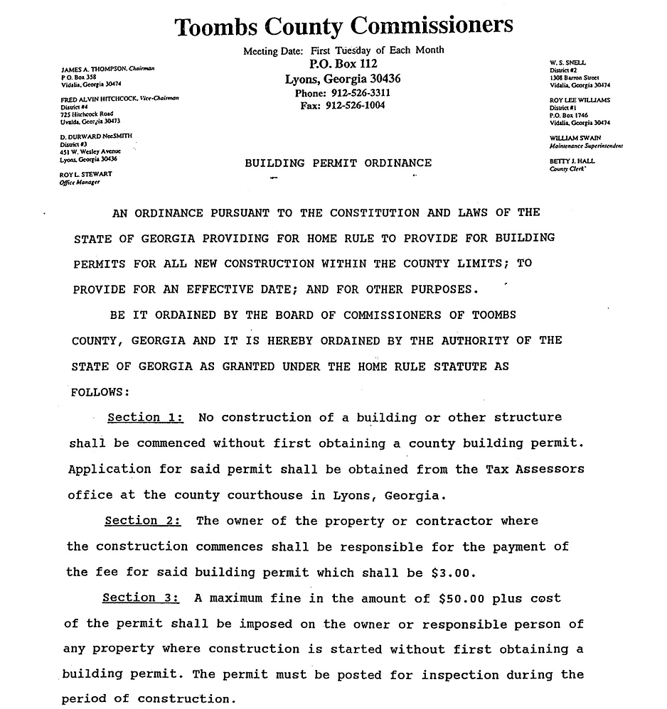 Building Permit Ordinance | Toombs County Commission